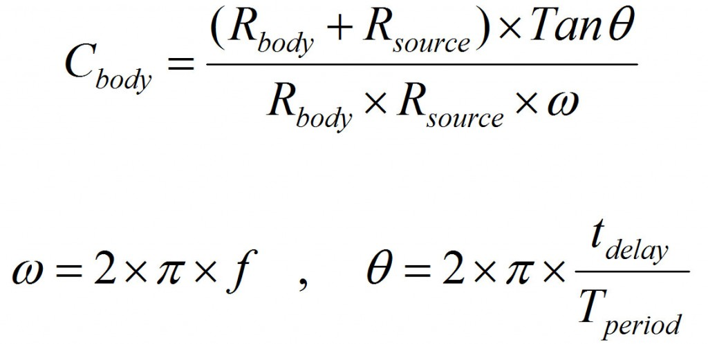 Formula to calculate capacitance, using measured delay