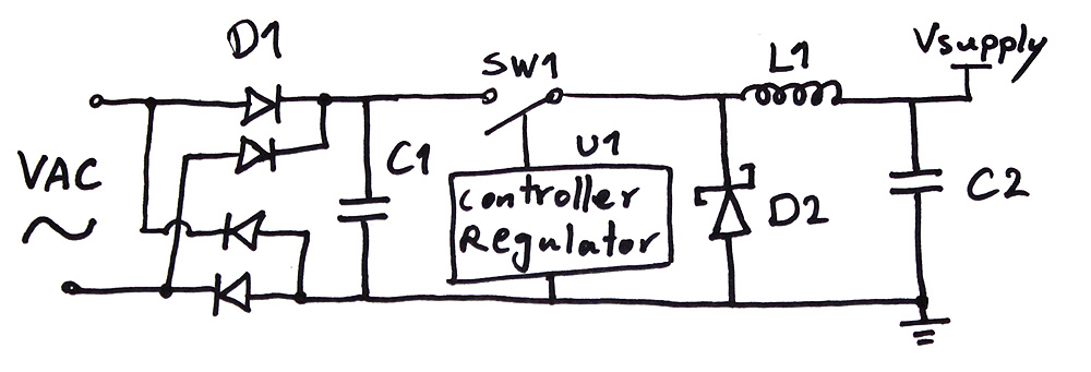 Simplified Non-Isolated Switching Ac to DC Inverter