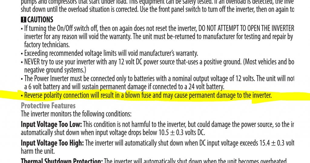 Inverter Datasheet on Reverse Polarity