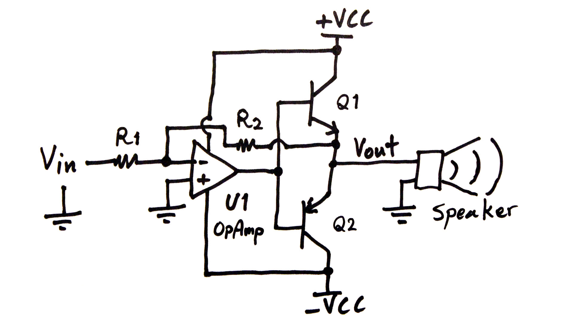 circuit1 making an audio power amplifier (drive a sub woofer) electroboom